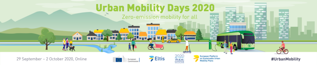 Colour banner of the Urban Mobility Days 2020 | 29 September - 2 October 2020