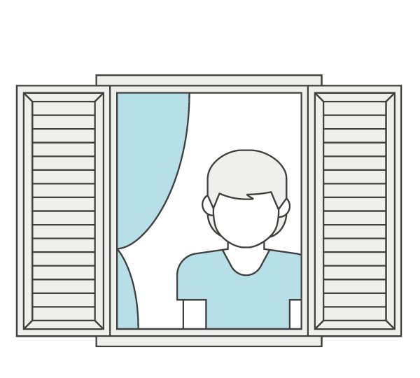 icon representing a lone person standing behind a window